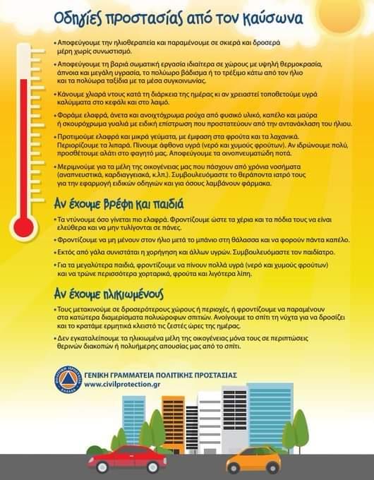 Οδηγίες προστασίας από τον καύσωνα