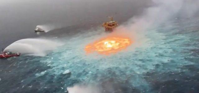 «Πύρινο μάτι» στην επιφάνεια του ωκεανού: Έσβησαν με… άζωτο πυρκαγιά από διαρροή αερίου σε υποβρύχιο αγωγό